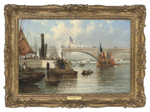Frederick Waters (William) Watts - o Mayoral Barcaça em londres Ponte