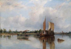 Frederick Waters (William) Watts - vista de barcaças no o tâmisa Com Henley-on-thames Além