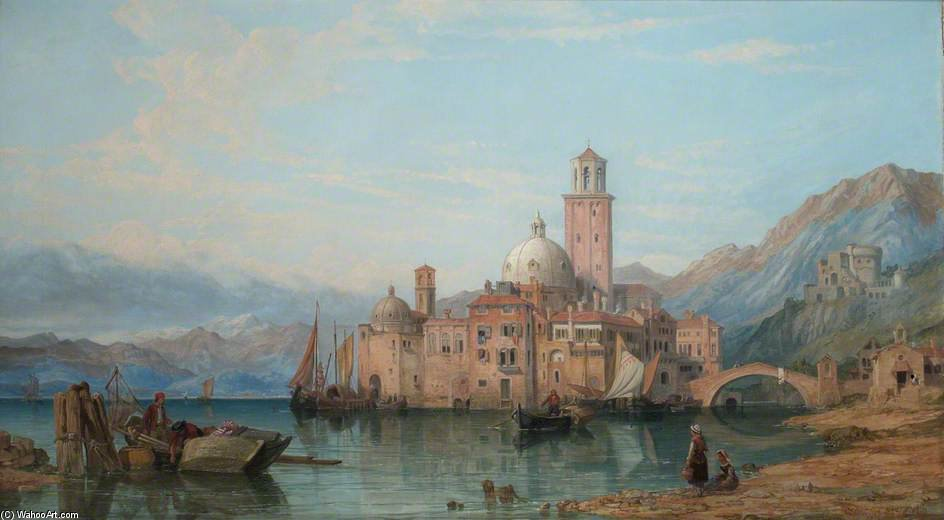 um italiano lago  cena  por George Clarkson Stanfield (1793-1867, United Kingdom)