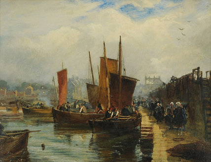 Newhaven Cais por Samuel Bough (1822-1878, United Kingdom)