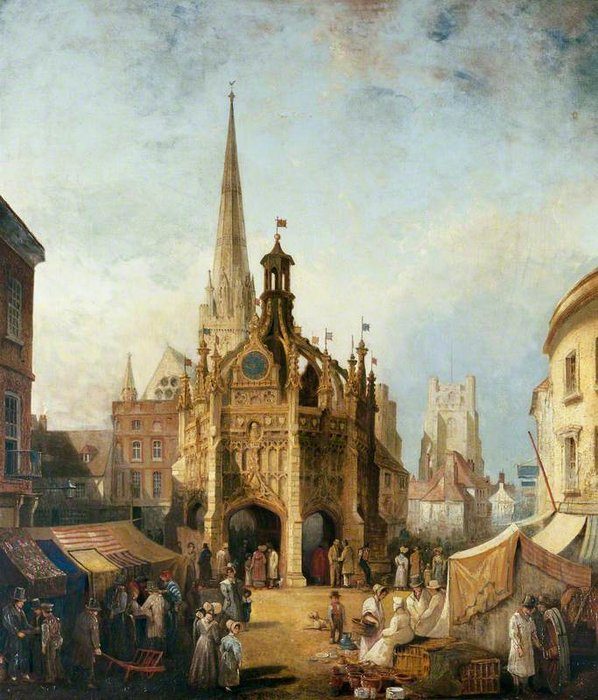 uma vista de Chichester Cruz de east Rua , Oeste Sussex por Henry Pether (1828-1865, United Kingdom)