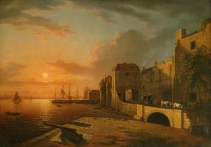Henry Pether - southampton town quay em sunset