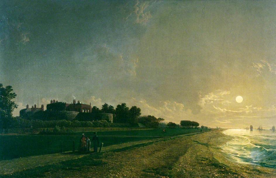 walmer castle por Luar por Henry Pether (1828-1865, United Kingdom)