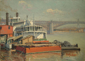 Richard Hayley Lever - Paddle Steamer Mark Twain, Rio Mississipi Eads Bridge At St. Louis