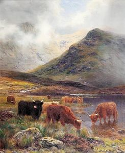 Louis Bosworth Hurt - Highland gado molhando
