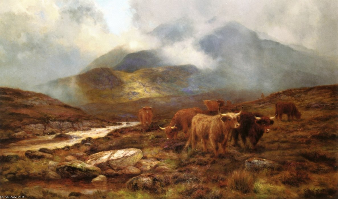Over The Moorland, Sligachan, Isle Of Wight por Louis Bosworth Hurt (1856-1929, United Kingdom)