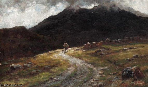 a montanha estrada em skye - Com Scuir-na-gillean por Louis Bosworth Hurt (1856-1929, United Kingdom)