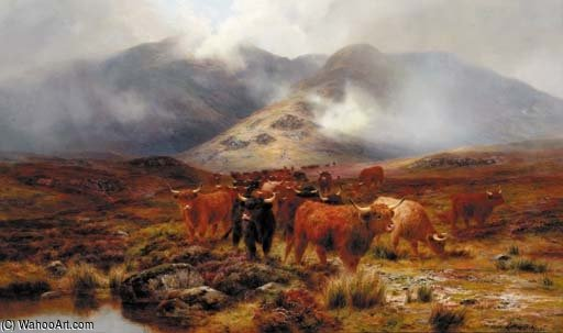 Crossing The Moorland por Louis Bosworth Hurt (1856-1929, United Kingdom)