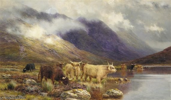 Em Glencoe - The Hills escurecer por Louis Bosworth Hurt (1856-1929, United Kingdom) | Cópias Da Arte Na Tela | WahooArt.com