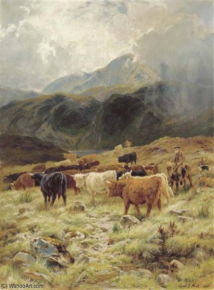 On The Loch Maree, Ross-shire por Louis Bosworth Hurt (1856-1929, United Kingdom)