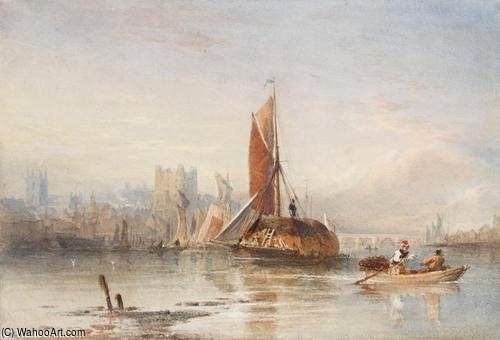 Haybarges On The Medway por Thomas Sewell Robins (1810-1880, United Kingdom)