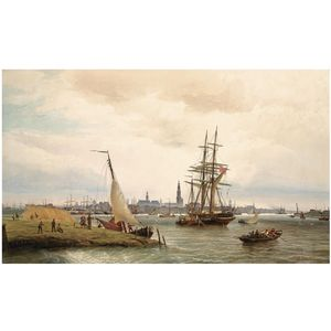 Cornelis Christiaan Dommelshuizen - O porto de Antuérpia With A View From The Left Bank sobre o rio Escalda And The Onze Lieve Catedral Vrouw No fundo