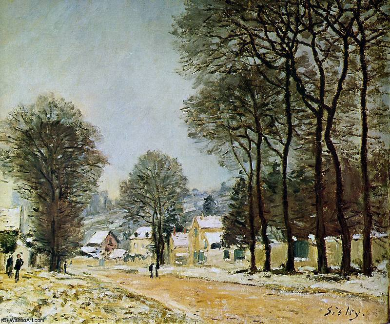 Louveciennes na neve Sol por Alfred Sisley (1839-1899, France)