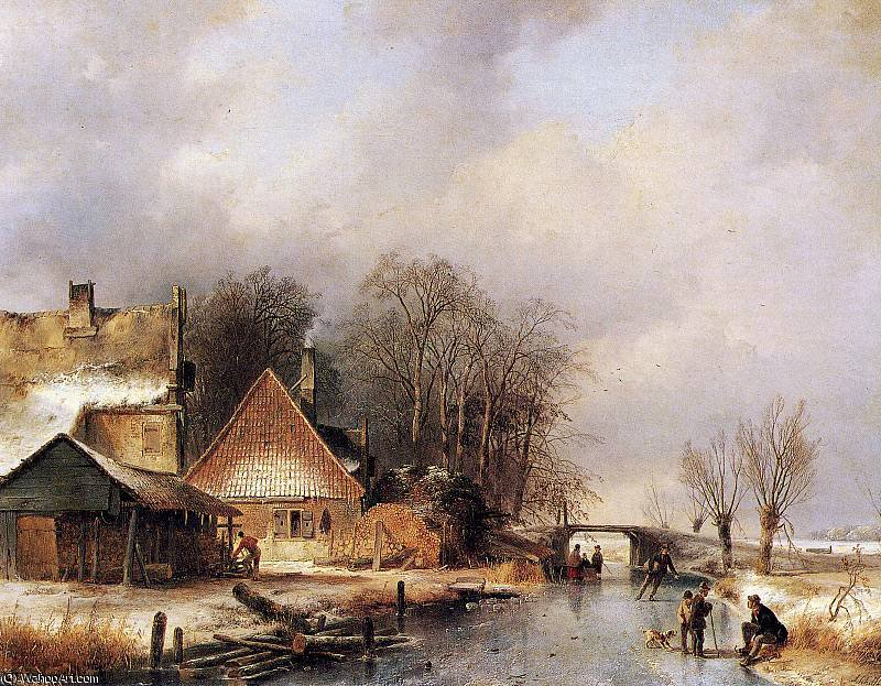 Scaters no canal 2   sol  por Andreas Schelfhout (1787-1870, Netherlands)