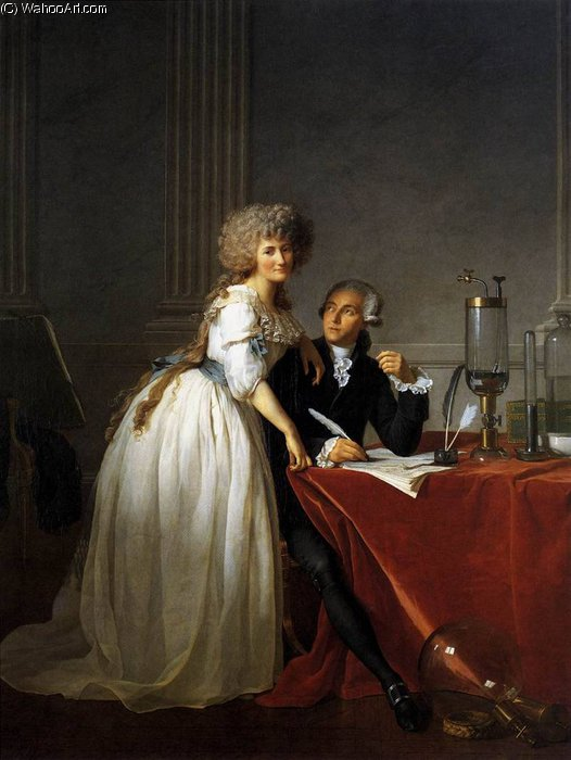 Retrato de Antoine Laurent Lavoisier e Marie Anne por Jacques Louis David (1748-1800, France)