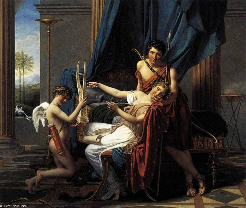 Sappho e Phaon por Jacques Louis David (1748-1800, France)