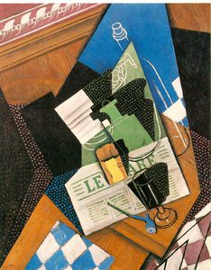 Juan Gris - Water-bottle , Garrafa , e Fruit-dish - -