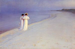 Peder Severin Kroyer - Noite do verão no Skagen Southern Beach com Anna Ancher e Marie Kroyer