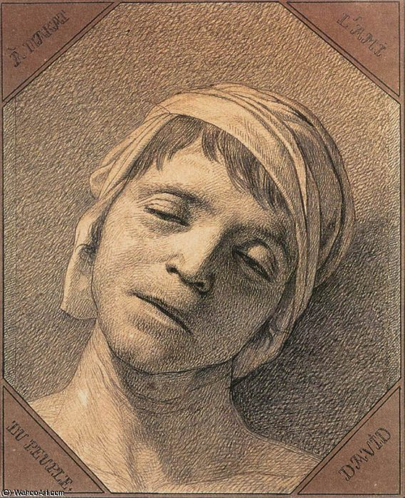 Cabeça dos Mortos Marat por Jacques Louis David (1748-1800, France)
