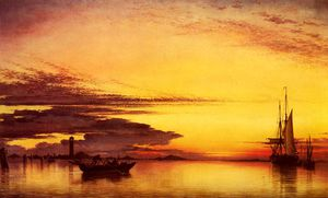 Edward William Cooke - Pôr do sol sobre o lagune de veneza
