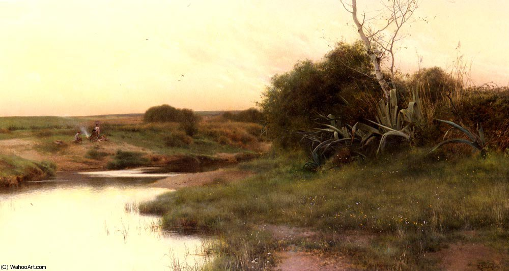 ON_THE_RIVER S_EDGE_AT_DUSK por Emilio Sanchez-Perrier (1855-1907, Spain)
