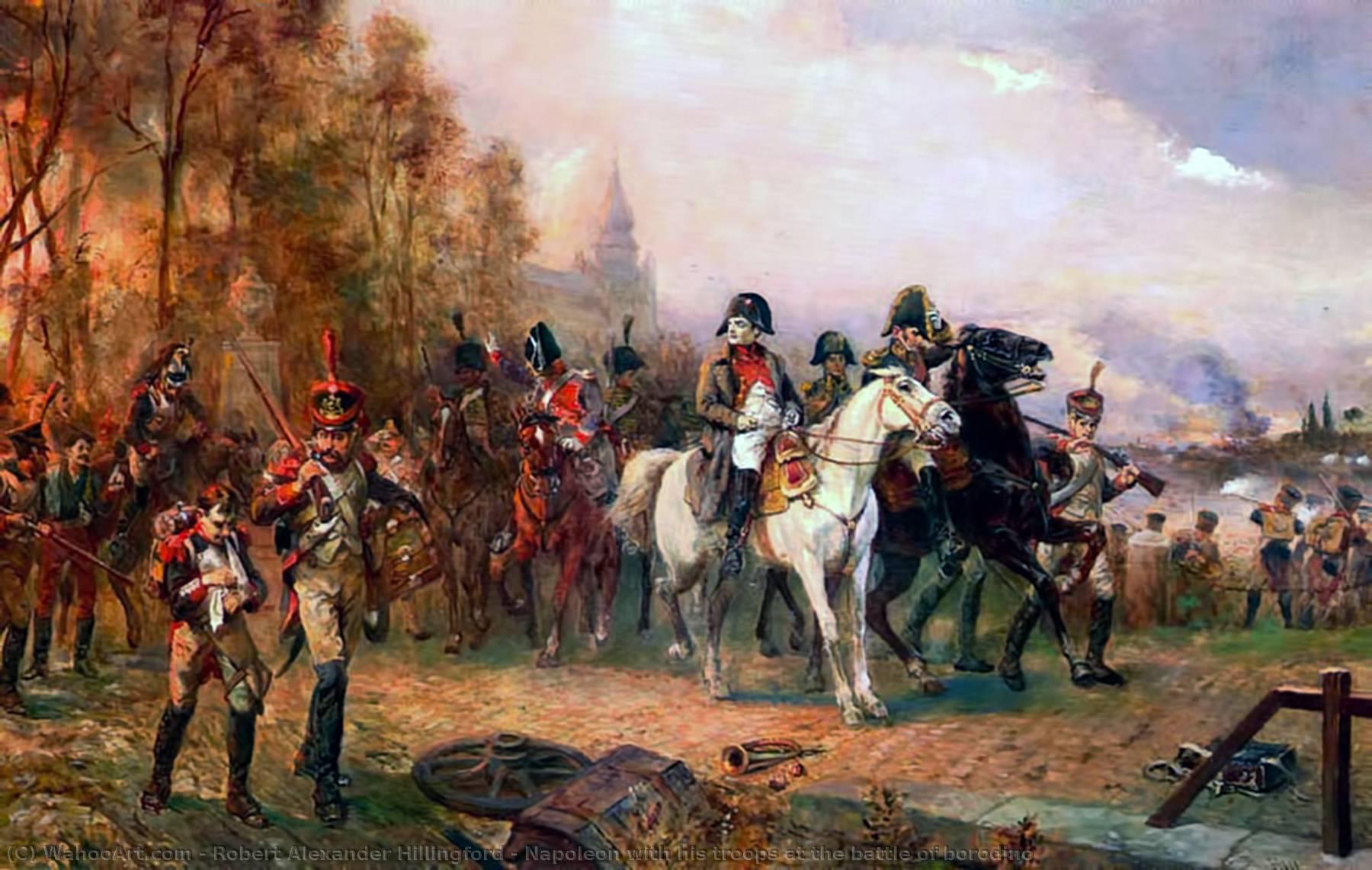Napoleão com o seu tropas no batalha de borodino, 1812 por Robert Alexander Hillingford (1828-1904, United Kingdom) | Reproduções De Belas Artes Robert Alexander Hillingford | WahooArt.com