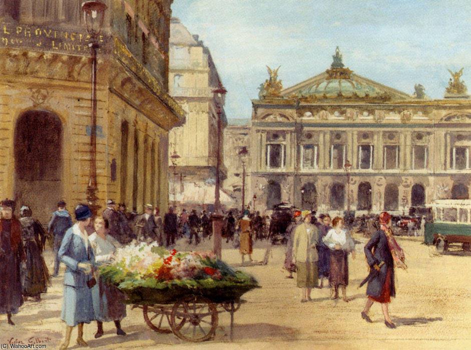 O vendedor da flor local  o  Eu  Ópera  em Paris  por Victor Gabriel Gilbert (1847-1933, France)