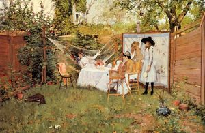 William Merritt Chase - O Open Air Breakfast aka The Backyard Breakfast Fora de Portas