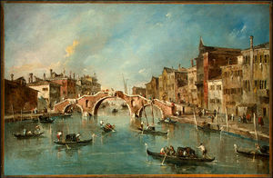 Francesco Lazzaro Guardi - Vista sobre o canal cannaregio , Veneza , c .