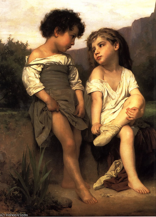 no borda da o `brook` por William Adolphe Bouguereau (1825-1905, France)