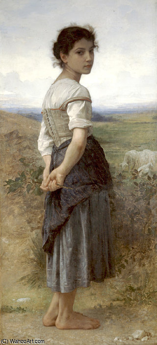 Jeune bergere por William Adolphe Bouguereau (1825-1905, France) | Copy Pintura | WahooArt.com