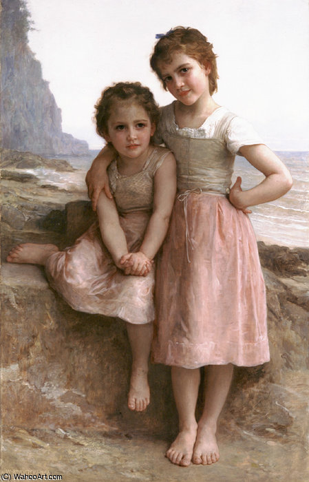 No rochoso  praia  por William Adolphe Bouguereau (1825-1905, France) | WahooArt.com