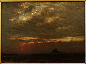 Albert Goodwin - Lincoln Catedral em sunset