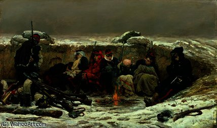 In the Trenches por Alphonse Marie Adolphe De Neuville (1836-1885, France)