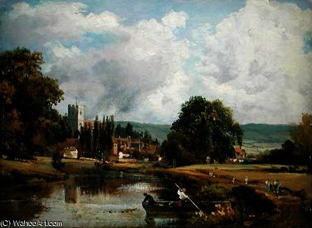 Aylesford , Kent , do Rio Medway por Frederick Waters (William) Watts (1800-1870, United Kingdom) | Reprodução Da Arte | WahooArt.com