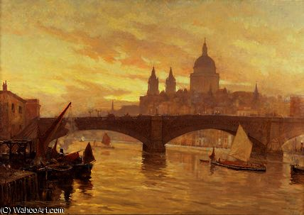 Southwark ponte por Herbert Menzies Marshall (1841-1913, United Kingdom)