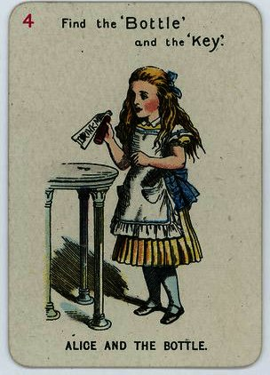 Alice e o Garrafa por John Tenniel (1820-1914, United Kingdom)