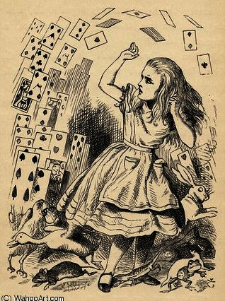 ALICE e o Embrulho of cards por John Tenniel (1820-1914, United Kingdom)