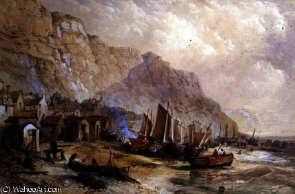 Old Hastings, Sussex por Thomas Charles Leeson Rowbotham (1782-1853, United Kingdom) | WahooArt.com