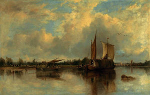 Frederick Waters (William) Watts - Vista de barcaças no a thames com henley além