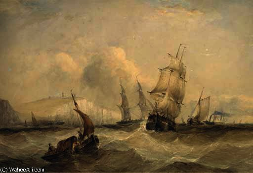 o lotado canal fora dover por Charles Bentley (1805-1854, United Kingdom)