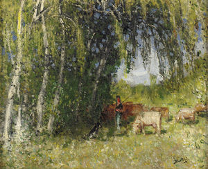 Pierre-Eugène Montézin - The Herd em Birch Grove perto da Creuse