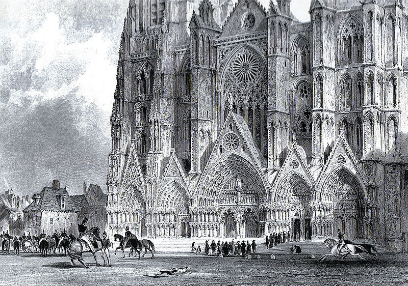 Bourges catedral por Thomas Allom (1804-1872, United Kingdom)