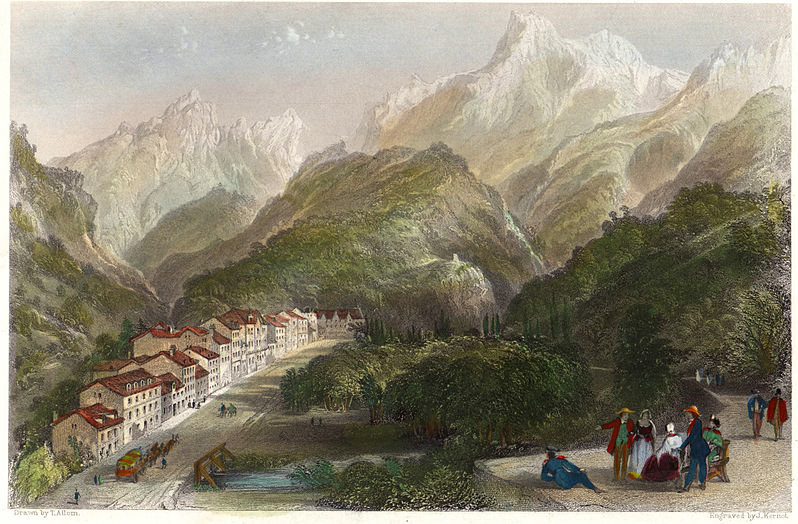 Eaux-Bonnes, Pirinéus Atlânticos por Thomas Allom (1804-1872, United Kingdom)