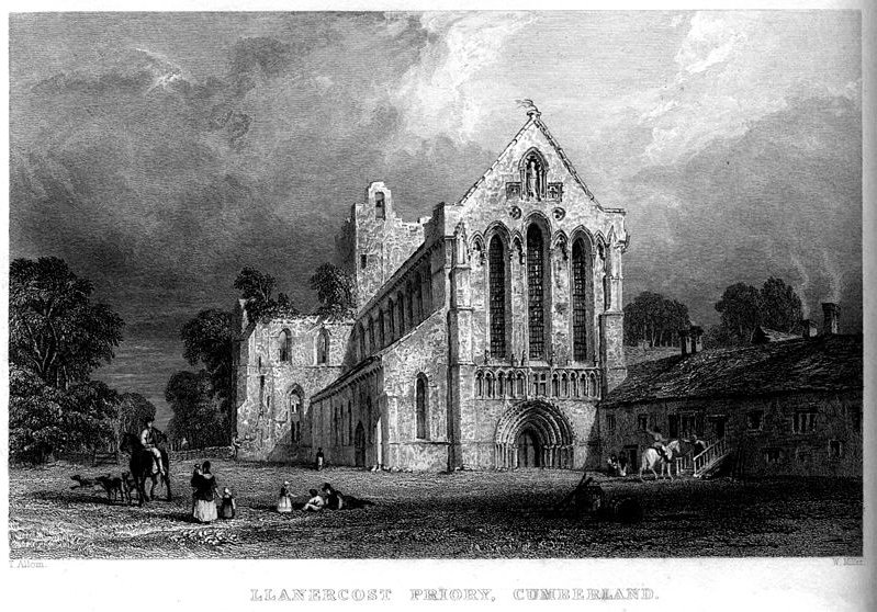 Llanercost Priory, gravura Cumberland por Thomas Allom (1804-1872, United Kingdom)