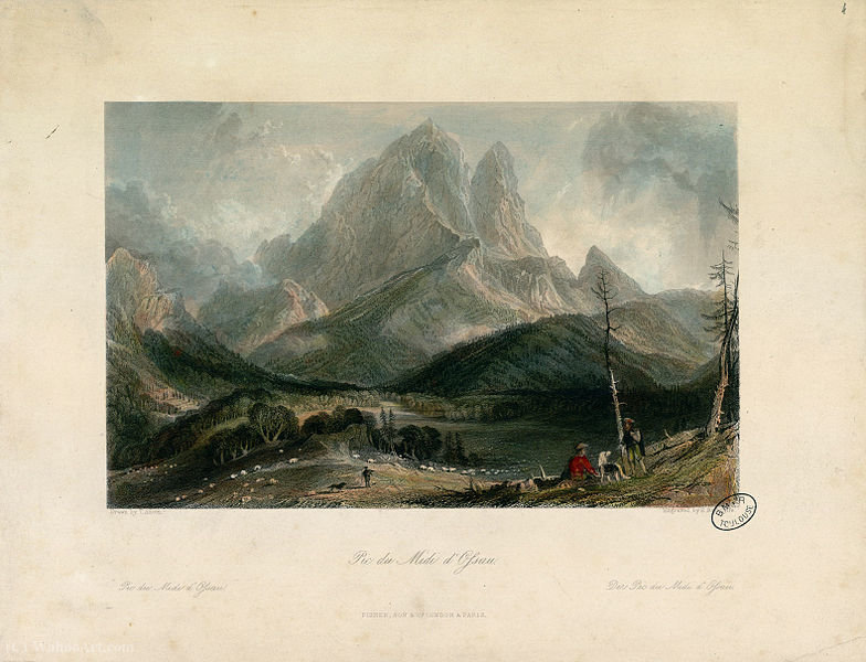 Pic du Midi d Ossau por Thomas Allom (1804-1872, United Kingdom)