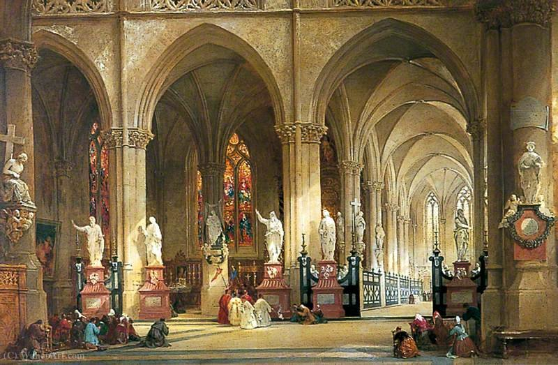 A Igreja de St Jacques, Antuérpia por Thomas Allom (1804-1872, United Kingdom)