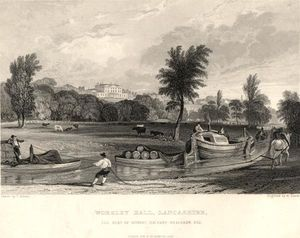 Thomas Allom - Worsley salão Lancashire