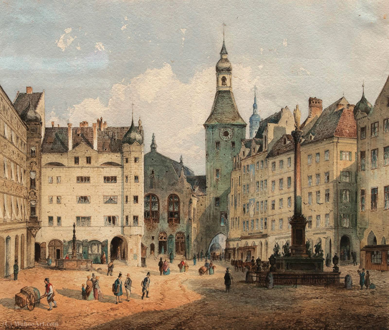 A Marienplatz, em Munique por Anton Doll (1826-1887, Germany) | Copy Pintura | WahooArt.com