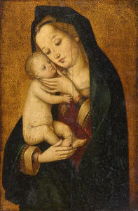 Hans Holbein The Elder - Maria, liebkosend Das Kind